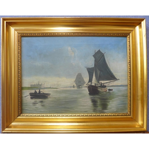 6 - Coastal landscape with fisherman, oil on canvas, unsigned, 38cms x 52cms, framed...