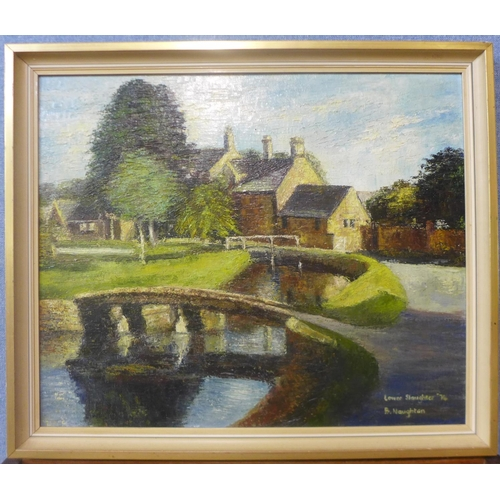 7 - Betty Naughton, Lower Slaughter, oil on panel, dated 1974, 49cms x 59cms, framed...