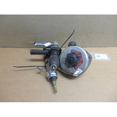 2003 - 2 Air tools - drill & nibbler - unused with spare blade, balancer...