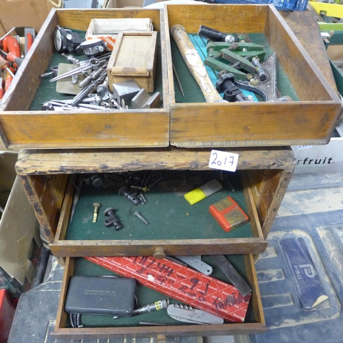 2017 - Engineer's 5 drawer tool chest with tools including gauges, calipers, set squares, etc....