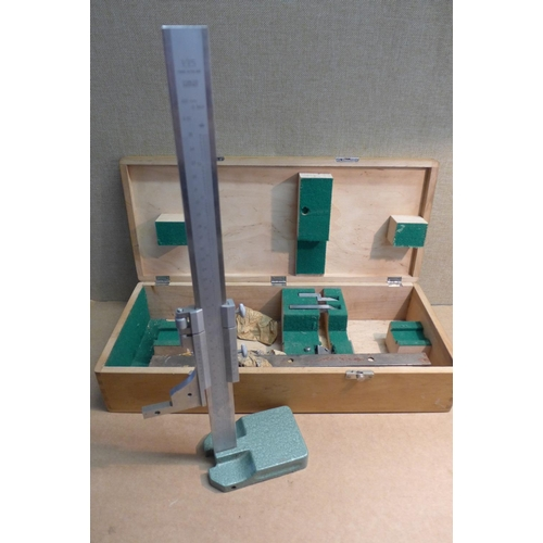 2032 - Lathe measuring tool & bits in wooden case...