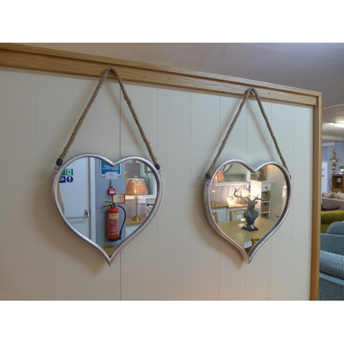 1459 - A set of two silver heart mirrors (1838915)   #...