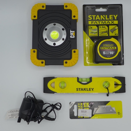 3019 - A Cat  1100 Lumens Led Worklight     (193-74) , Stanley measuring tape, level & blades    (193-85)  ...