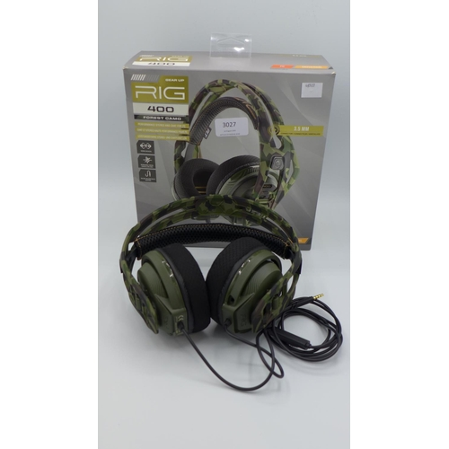 3027 - A Pair Of Plantronics Rig 400 Forest Camo Gaming Headset - no microphone   (194-268) * This lot is s...