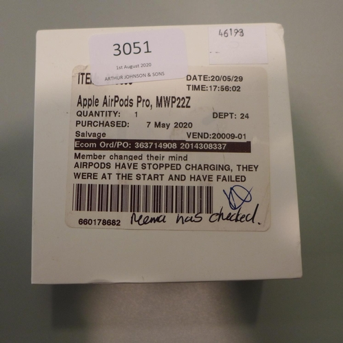 3051 - A Pair Of Apple Airpods Pro With Wireless Case, RRP £189.99 + VAT           (194-181) * This lot is ...
