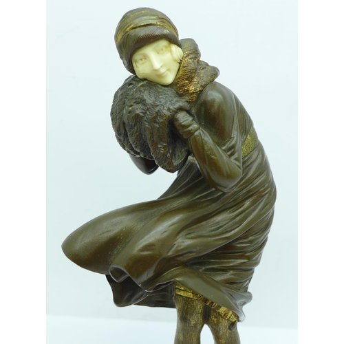 840 - An Art Deco figure of a lady, 'The Squall', after Demetre Chiparus, 18.5cm,  a/f...