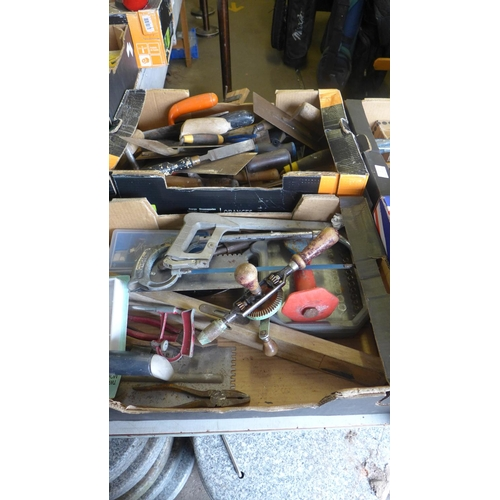 2048 - 2 Boxes of misc. tools inc. brickies tools