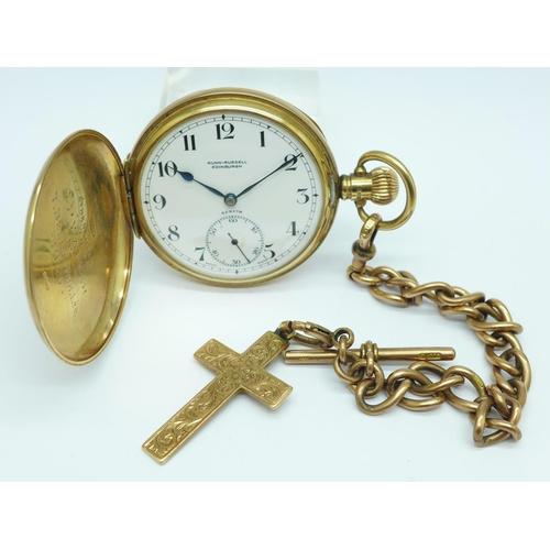 1000 - A 9ct gold cased Zenith full-hunter, top-wind pocket watch, the dial marked Gunn-Russell, Edinburgh,...