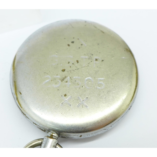 999 - A Jaeger-LeCoultre military issue pocket watch, with broad arrow, also marked G.S.T.P., 254305...