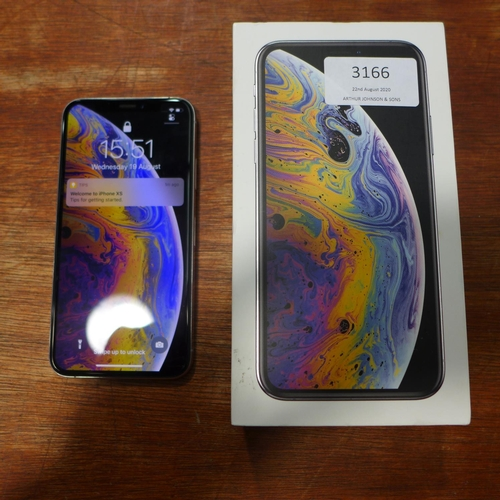 3166 - Apple Iphone Xs 64Gb Silver Mobile Phone with charging lead, headphones & box, RRP £799.99 + VAT * T...