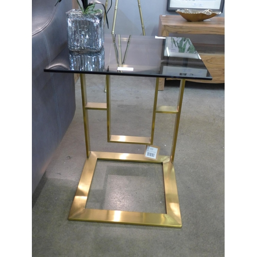1307 - An Edwin brushed brass sofa table with glass top (2035055)   #...