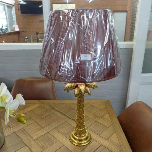 1408 - A gilt palm tree table lamp with burgundy shade (PAL423561)   #...