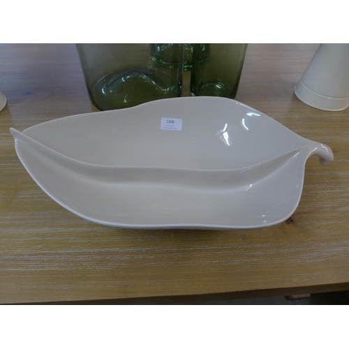 1423 - A two compartment glazed ceramic leaf bowl (5054P08)   #...