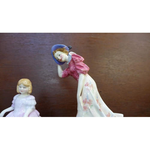 605 - Six figures;- five Royal Doulton figures, A Victorian Lady, a/f, Celeste, Windflower, a/f, Rose, Bar...