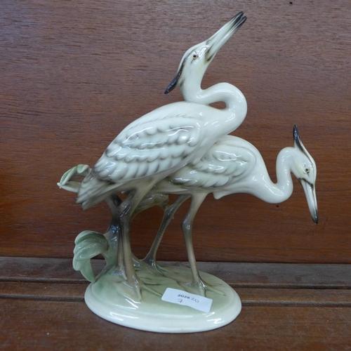 610 - An Austrian Keramos figure of two herons, 23cm...