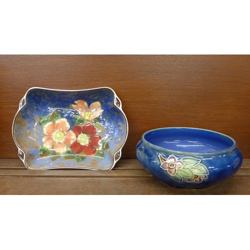 615 - A Royal Doulton Wild Rose dish and a Royal Doulton 1930's bowl, impressed mark to the base, (2)...