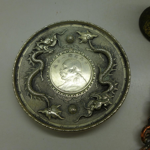 628 - A Chinese goblet, dish with coin and a mirror, (modern)...