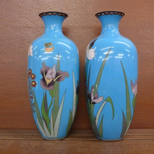612 - A pair of Japanese cloisonne vases, a/f, 30.5cm...