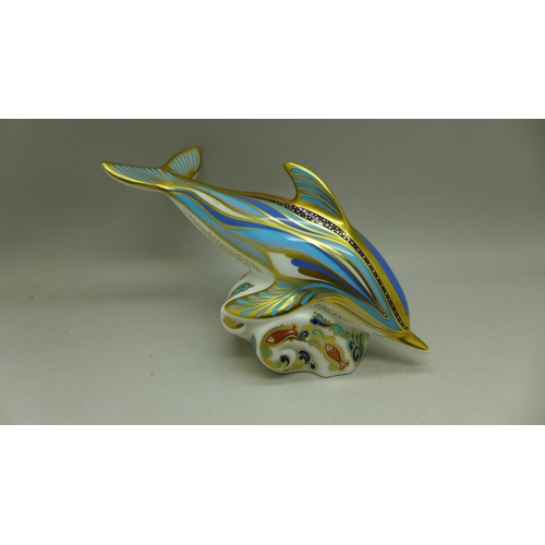 631 - A Royal Crown Derby Dolphin paperweight, gold stopper, 16cm...