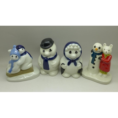 634 - Four Wade Christmas figures, including Camtrak's Childhood Favourites, No.4, Rupert and the Snowman...