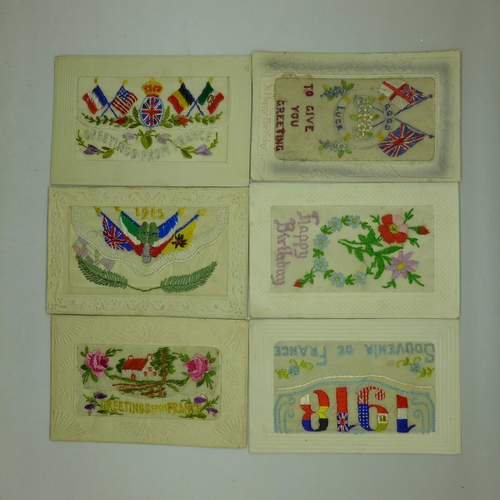 635 - Six WWI embroidered silk postcards, (all unused but four with brief messages on the reverse)...