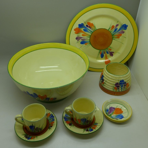 641 - A Clarice Cliff Crocus pattern bowl, a/f, cracked, two coffee cans and saucers, small dish, plate an...