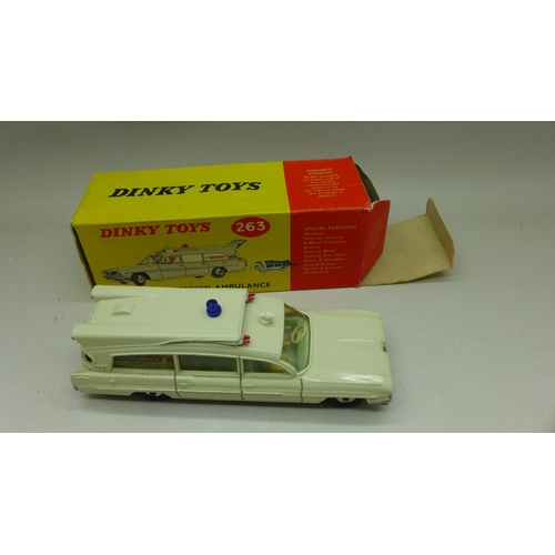 644 - A Dinky Toys, 263, Superior Criterion Ambulance with stretcher, boxed...