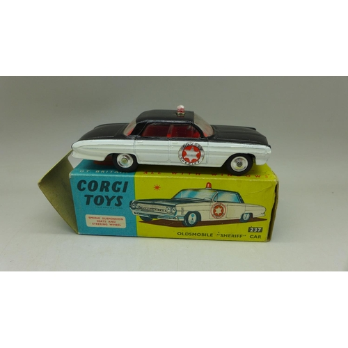 645 - A Corgi Toys, No. 237, Oldsmobile Sheriff Car, boxed...