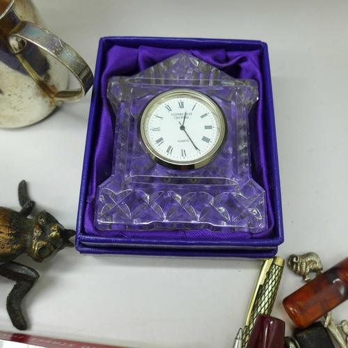 659 - An Edinburgh Crystal clock, silver plated items, a novelty desk top fly vesta box, vintage glasses, ...