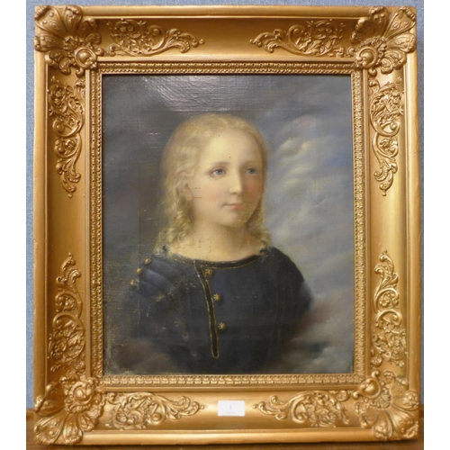 1 - Continental School (19th Century), portrait of a child, oil on canvas, inscribed verso; Carl Otto He...
