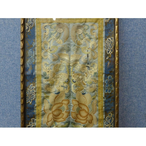 10 - A Chinese silk embroidery, framed, 53 x 29cms...