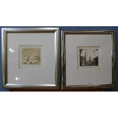 18 - A pair of signed Mackenzie Thorpe limited edition prints, New Boots At Christmas and He's Coming Hom...