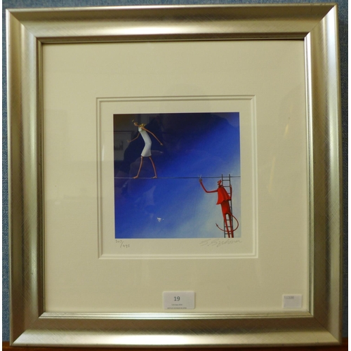 19 - A signed Sarah Jane Szikora limited edition print, Don't Bring Me Down, no. 307/495, framed...
