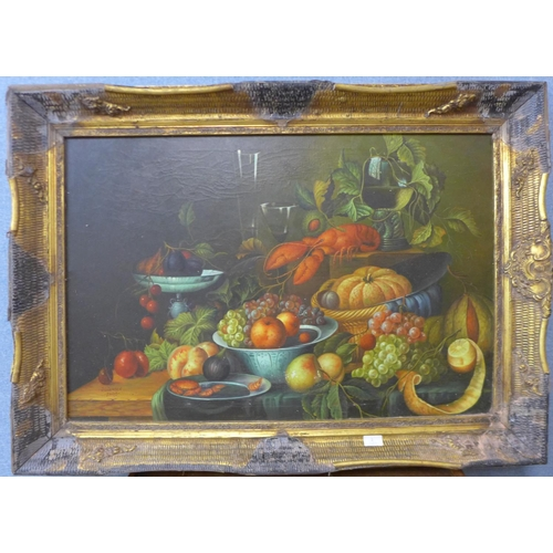2 - J.L. Jensen, still life of lobster and fruit on a table, oil on canvas, 60 x 90cms, framed...
