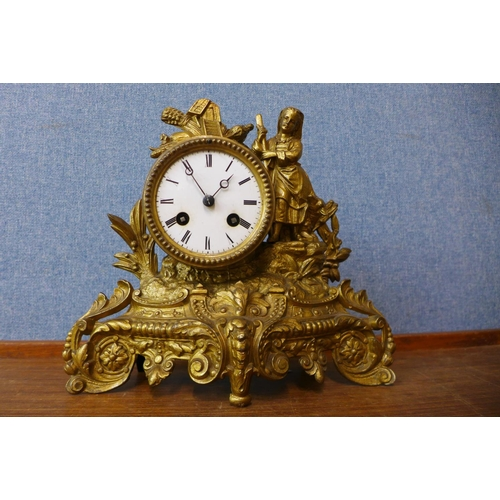 22 - A 19th Century French gilt metal clock...