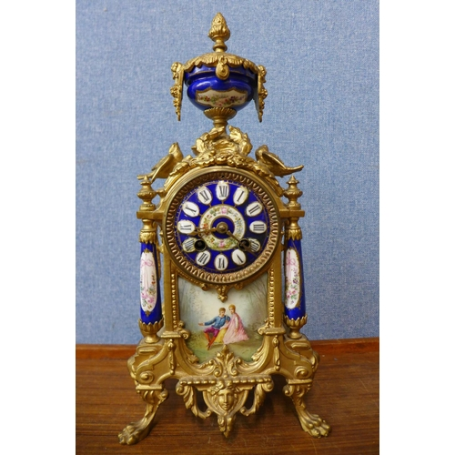 23 - A 19th Century French gilt metal and Sevres style clock...