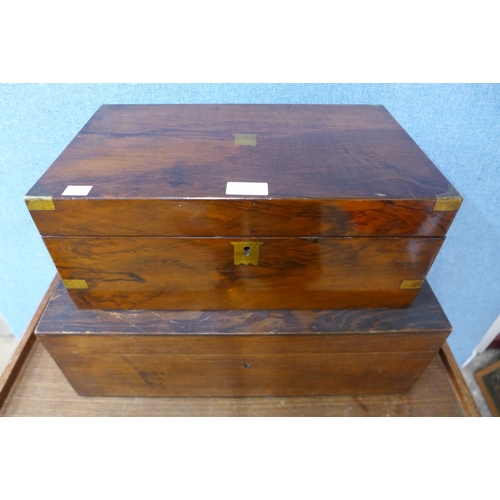 35B - A Victorian walnut writing slope and a small pine box...