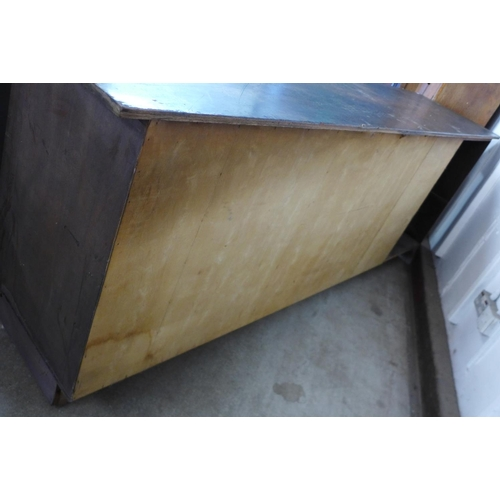 43 - A mahogany fitted shop counter, 96cms h, 264cms w, 61cms d...