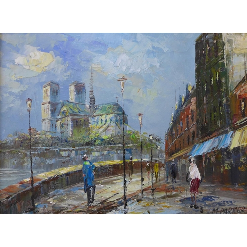 5 - * Palsey, Parisian scene, oil on canvas, 50 x 60cms and M. Parker, Parisian scene, oil on canvas, 29...