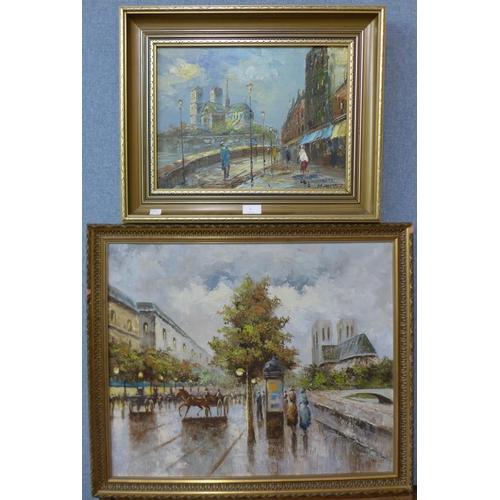 5 - * Palsey, Parisian scene, oil on canvas, 50 x 60cms and M. Parker, Parisian scene, oil on canvas, 29...