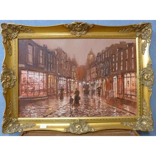 6 - John Bampfield, street scene, oil on canvas, 50 x 75cms, framed...