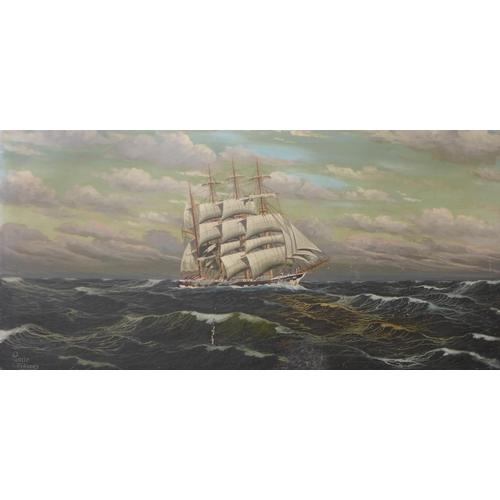 7 - R. Longanesi, marine landscape, oil on canvas, 60 x 32cms, framed and Pamin S. Didszus, marine lands...