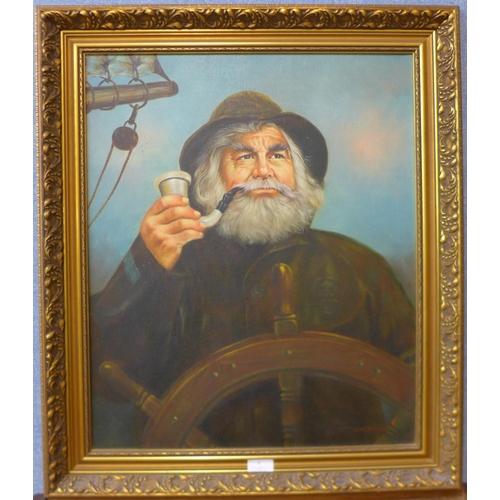 8 - Kim Benson, portrait of an old fisherman, oil on canvas, 59 x 49cms, framed...