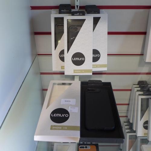3003 - Ten Lemuro iPhone 7/8 mobile phone cases ( black leather )...