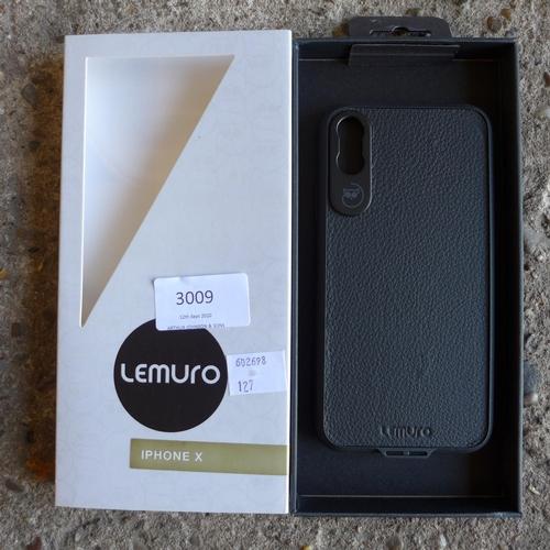3009 - Ten Lemuro iPhone X mobile phone cases ( black leather )...