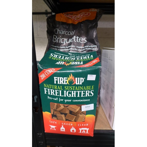 3056 - Fire Up Fire Lighters and Charcoal Briquettes (10Kg)  (200-142, 144) * This Lot Is Subject To Vat...