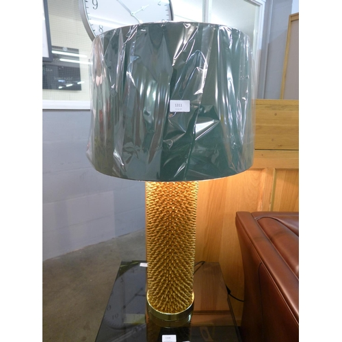 1311 - A gilt Acantho table lamp with emerald green velvet shade (2022633)   #...