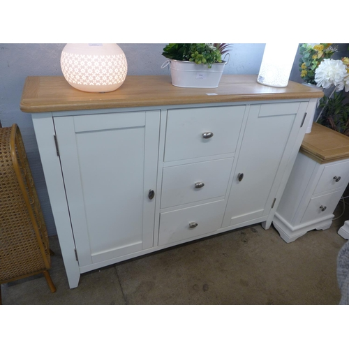 1342 - A Gloucester white painted oak large three drawer two door sideboard (GA-LS-W) (Ref 21) * this lot i...
