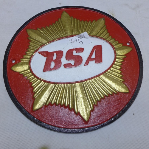2009 - Cast BSA motorcycle plaque...