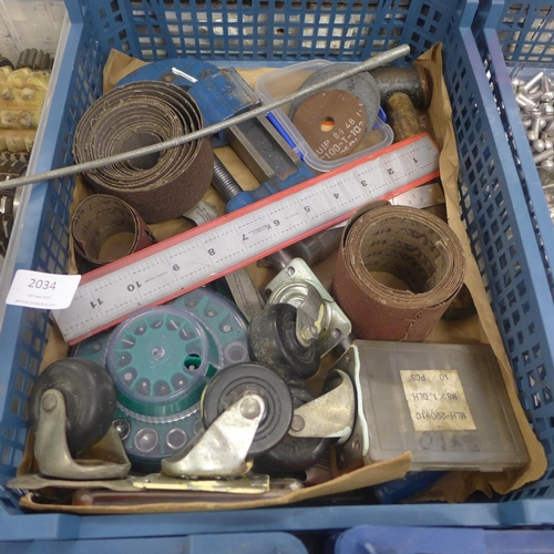 2034 - Crate of tools inc. Record 102 pipe cutter, hammer, casters. etc....